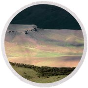 Round Beach Towel featuring the photograph Oregon Canyon Mountain Layers by Leland D Howard