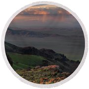 Round Beach Towel featuring the photograph Oregon Canyon Mountain Views by Leland D Howard