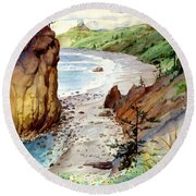 Round Beach Towel featuring the painting Oregon Coast #3 by John Norman Stewart
