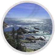 Round Beach Towel featuring the painting Oregon Coast by Joseph J Stevens