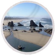 Oregon Coast Sea Stacks Round Beach Towel