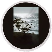 Round Beach Towel featuring the photograph Oregon Coast Sunset by Jerry Sodorff