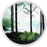 Round Beach Towel featuring the painting Oregon Coast by Tom Riggs