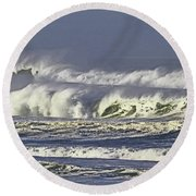Oregon Coast Waves On A Windy Morning Round Beach Towel
