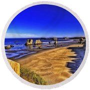Round Beach Towel featuring the photograph Oregon Coastal Beauty-2 by Nancy Marie Ricketts