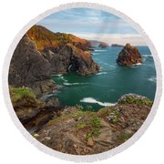 Round Beach Towel featuring the photograph Oregon Coastal Scenic by Leland D Howard