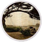Oregon Coastline With Tree Round Beach Towel