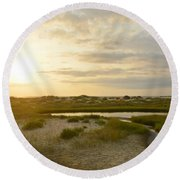 Oregon Inlet Sunrise In July Round Beach Towel