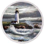 Oregon Lighthouse Beam Of Hope Round Beach Towel