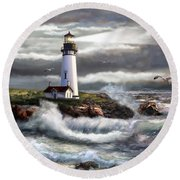 Oregon Lighthouse Beam Of Hope Round Beach Towel