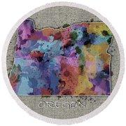 Oregon Map Color Splatter 5 Round Beach Towel