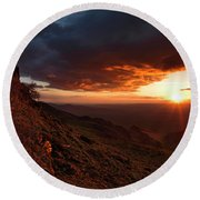 Round Beach Towel featuring the photograph Oregon Mountains Sunrise by Leland D Howard