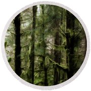 Oregon Old Growth Coastal Forest Round Beach Towel