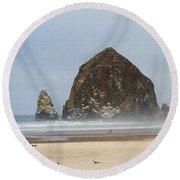 Oregon Rocks  Round Beach Towel by Tom Janca