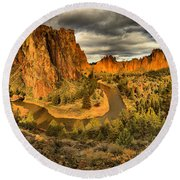 Oregon Smith Rock Panorama Round Beach Towel
