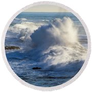 Round Beach Towel featuring the photograph Oregon Surf by Dennis Bucklin