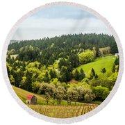 Oregon Wine Country Round Beach Towel
