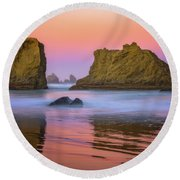 Round Beach Towel featuring the photograph Oregon's New Day by Darren White