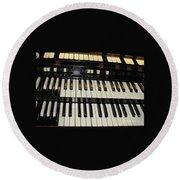 Hammond Organ Keys Round Beach Towel