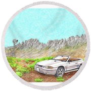 Round Beach Towel featuring the painting Organ Mountain Mustang by Jack Pumphrey