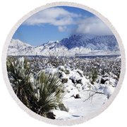 Round Beach Towel featuring the photograph Winter's Blanket Organ Mountains by Kurt Van Wagner