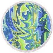 Organic Abstract Swirls Cool Blues Round Beach Towel