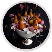 Organic Bosc Pears And Magnolia Blossoms Round Beach Towel