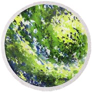 Organic Curve Abstract Watercolor Round Beach Towel
