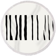 Organic No 12 Black And White Line Abstract Round Beach Towel