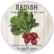 Round Beach Towel featuring the painting Organic Seed Packet 3 by Debbie DeWitt