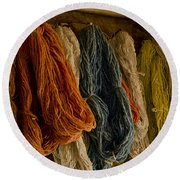 Organic Yarn And Natural Dyes Round Beach Towel