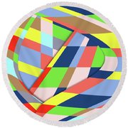 Round Beach Towel featuring the digital art Organized Cubic Chaos by Bruce Stanfield