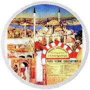 Orient Express, Istanbul, Vintage Travel Poster Round Beach Towel