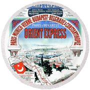 Orient Express Railway Route, Travel Poster Round Beach Towel