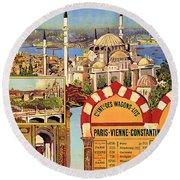 Orient Express, Railway, Vintage Travel Poster Round Beach Towel