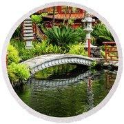 Oriental Bridge In A Tropical Garden Round Beach Towel