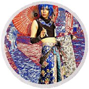 Oriental Cosplayer Round Beach Towel by Ian Gledhill