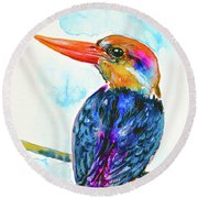 Oriental Dwarf Kingfisher Round Beach Towel