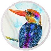Oriental Dwarf Kingfisher Round Beach Towel by Zaira Dzhaubaeva