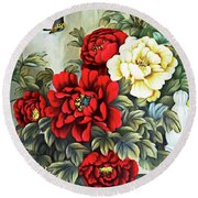 Round Beach Towel featuring the photograph Oriental Flowers by Munir Alawi