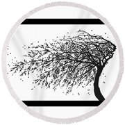 Round Beach Towel featuring the mixed media Oriental Foliage by Gina Dsgn