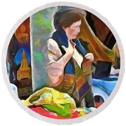 Round Beach Towel featuring the painting Oriental Merchant by Wayne Pascall