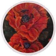 Oriental Poppys  Round Beach Towel by Barbara O'Toole