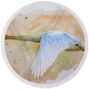 Original Animal Artwork Watercolour Painting  Wild Goose On Paper#16-6-16-04 Round Beach Towel by Hongtao Huang