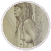 Original Artwork Drawing Female Nude Girl Women On Paper#16-6-29-01 Round Beach Towel by Hongtao Huang