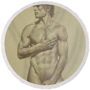 Original Artwork Drawing Sketch Male Nude Man On Brown Paper#16-6-16-03 Round Beach Towel by Hongtao Huang