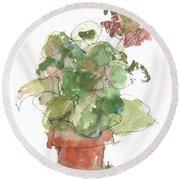 Original Buspaintings Geranium Watercolor Painting By Kathleen Mcelwaine Round Beach Towel