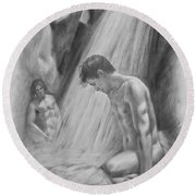 Original Charcoal Drawing Art Male Nude By Twaterfall On Paper #16-3-11-16 Round Beach Towel