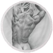 Original Charcoal Drawing Art Male Nude  On Paper #16-3-10-13 Round Beach Towel