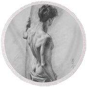 Original Charcoal Drawing Art Male Nude  On Paper #16-3-11-12 Round Beach Towel